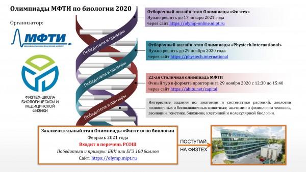 Постер Биологических олимпиад МФТИ 2020/21 учебного года